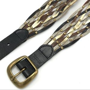 Fossil Braided Woven Wide Leather Belt Studded